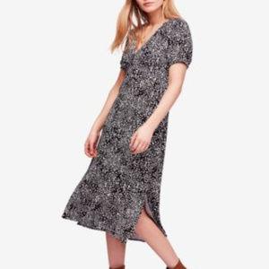 FREE PEOPLE Women's Black Print Short Sleeve Dress